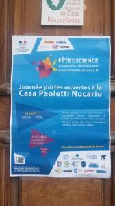 Affiche annonçant la tenue d'une exposition scientifique à la Casa Paoletti